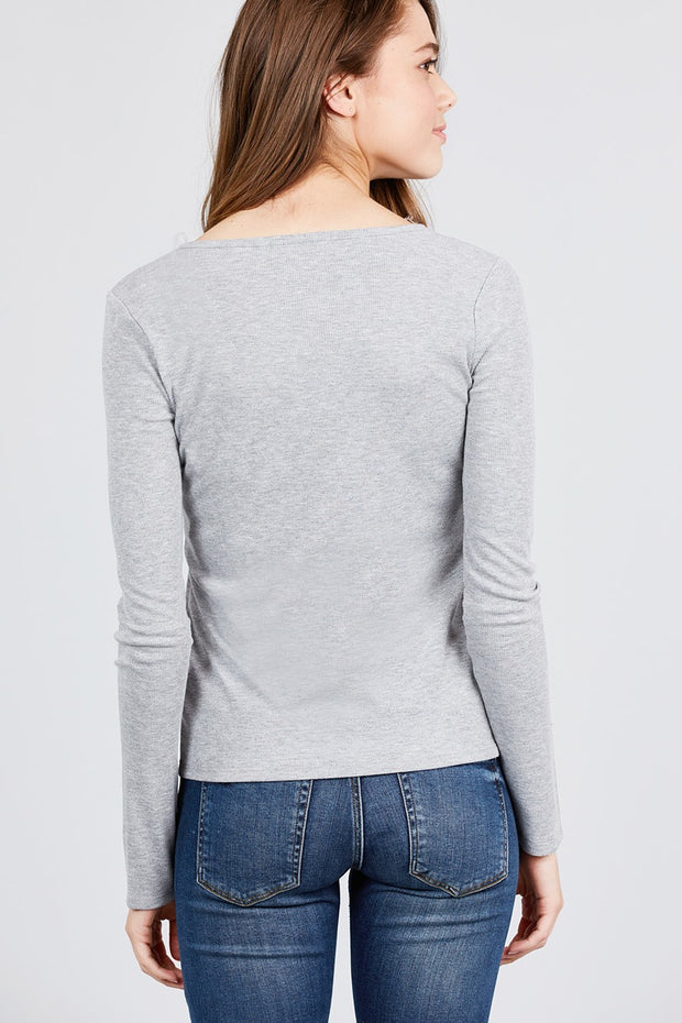Long Sleeve V-notch Neck Rib Knit Top - Avantchi.com