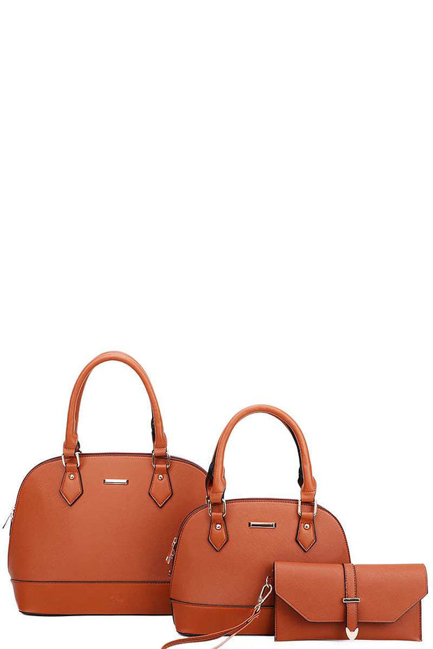 3in1 2 Domed Satchel Bags And Clutch Set - Avantchi.com