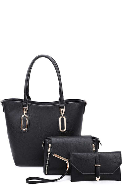 3in1 Modern Chic Tote Crossbody And Clutch Set With Long Strap - Avantchi.com