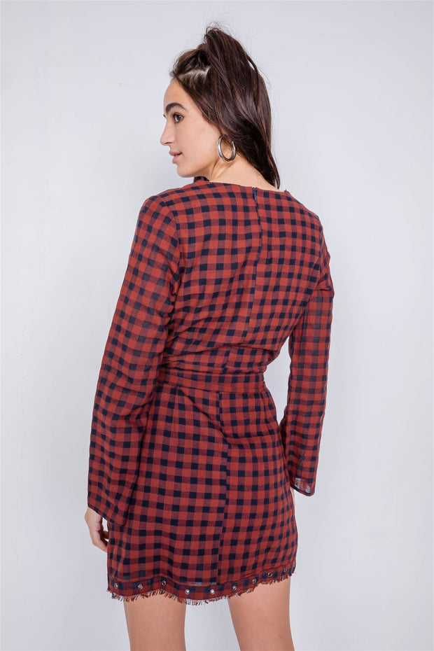 Plaid Checkered Grommet Raw Hem Mini Dress - Avantchi.com