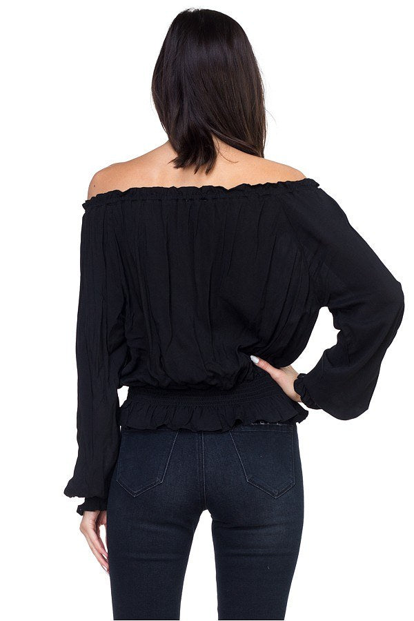 Off Shoulder Embroidered Shirt