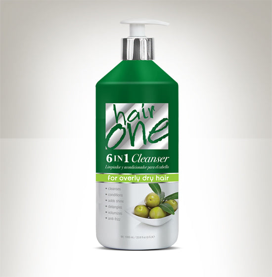 HAIR ONE 6 IN 1 CLEANSER OLIVE OIL FOR OVERLY DRY HAIR 33.8 OZ.