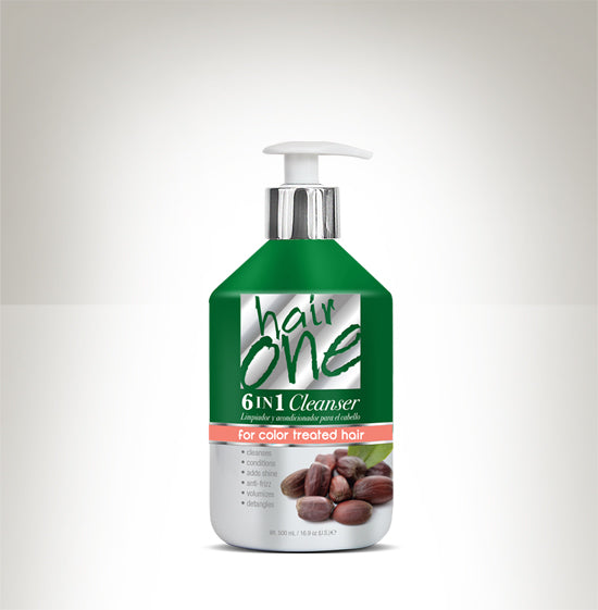 HAIR ONE 6 IN 1 CLEANSER JOJOBA OIL FOR COLOR TREATED HAIR 16.9 OZ.