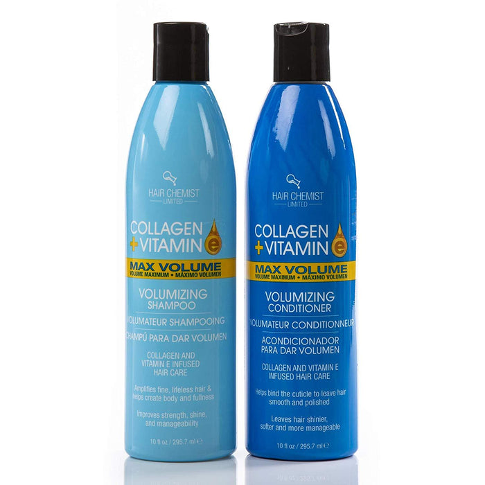Hair Chemist Collagen and Vitamin E Max Combo Volume Shampoo 10 ounce and Conditioner 10 ounce