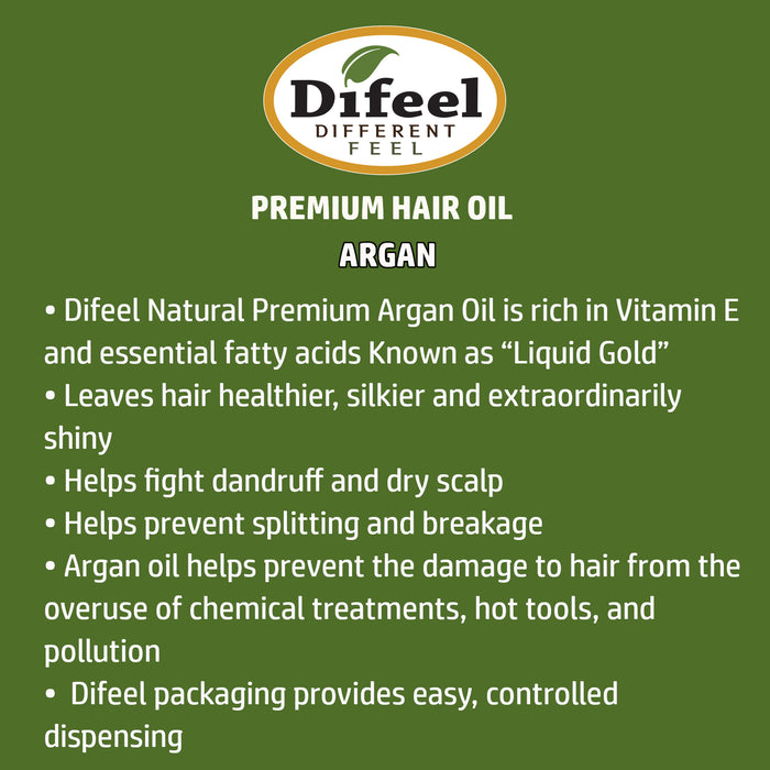 Difeel Premium Natural Hair Oil - Argan Oil 8 oz.