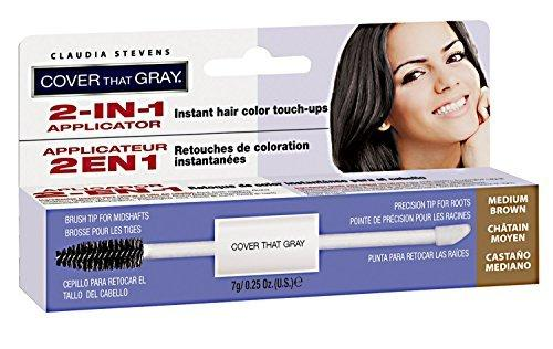 Claudia Stevens Cover That Gray 2-In-1 Applicator Hair Color Touchups - Medium Brown