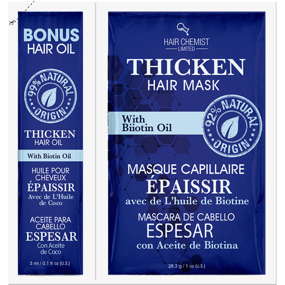 Hair Chemist Solutions Thicken Hair Mask 1 oz and Bonus 0.1 oz. Packette