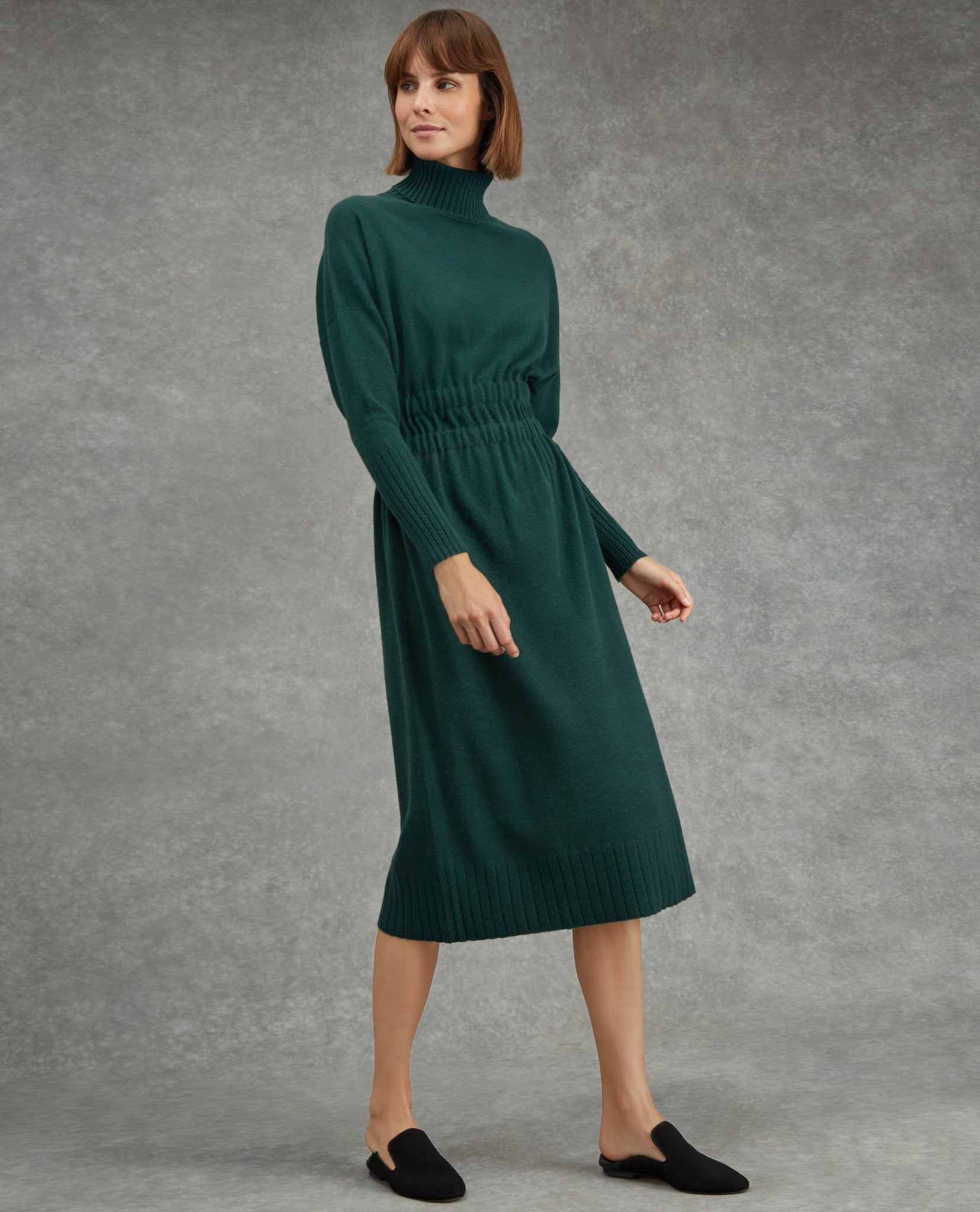 Gathered Waist Cashmere Dress