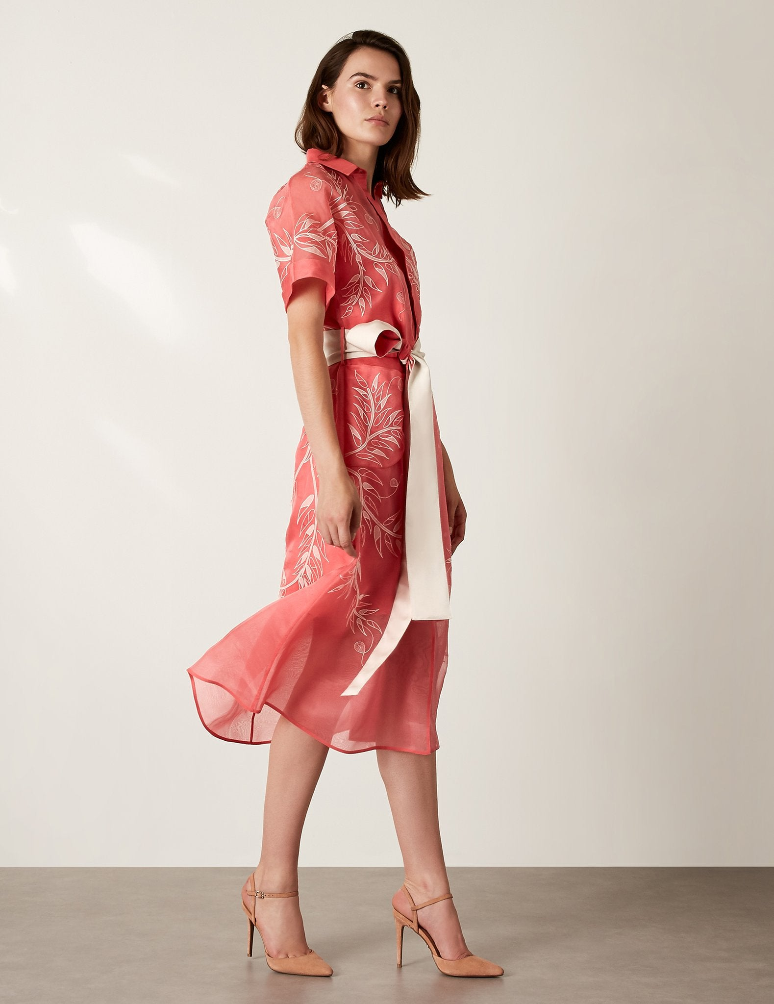 Embroidered Organza Shirt Dress