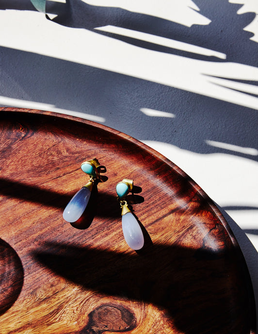 Turquoise & Chalcedony Drop Gold Earrings