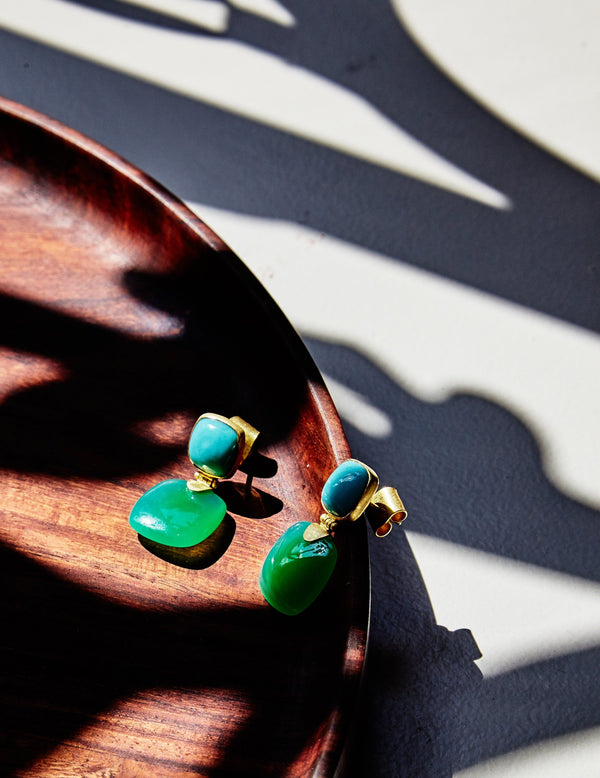 Turquoise & Chrysoprase Gold Earrings