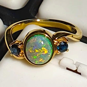 2.32ct solid black opal and Australian sapphire 18K yellow gold ring