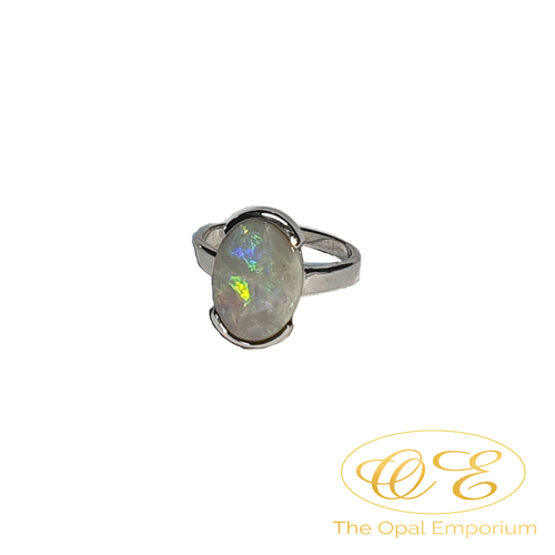 3.15ct solid black opal 925 Sterling silver ring