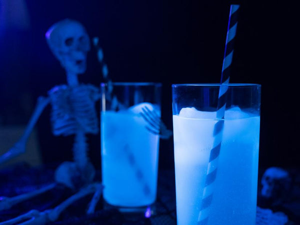 Glowing drinking water for halloween, skeleton tonic