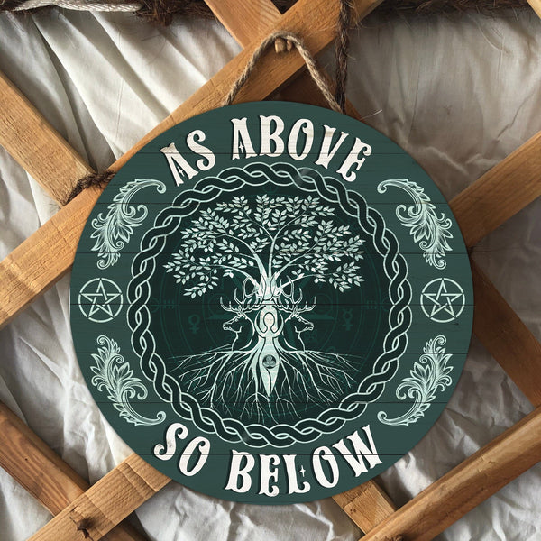 Green witch wood sign home decor