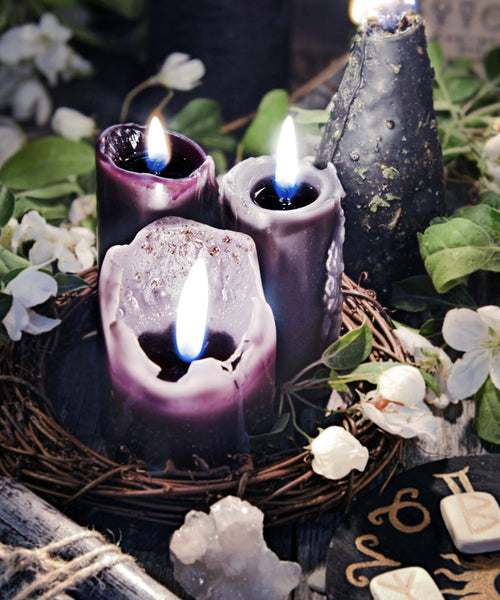 magic candle with flower