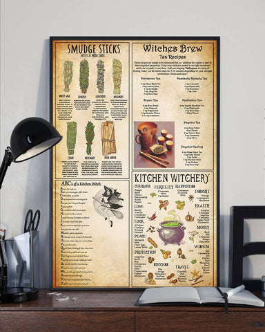 Kitchen Witchcraft Knowledge Poster, Witches Brew Tea Recipes, Kitchen Witchery - Witch Apparel