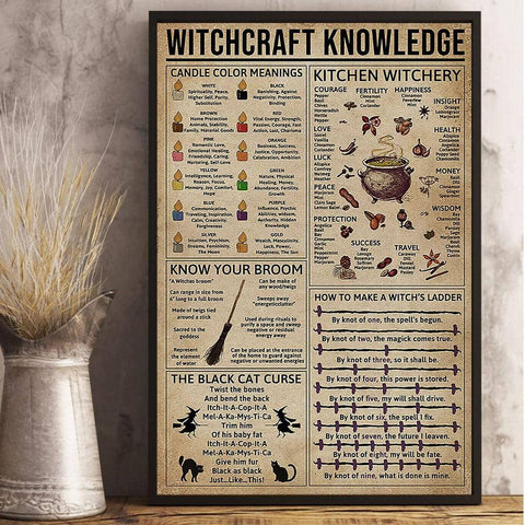 Witch Decor - Witchcraft Knowledge Poster - Witch Apparel