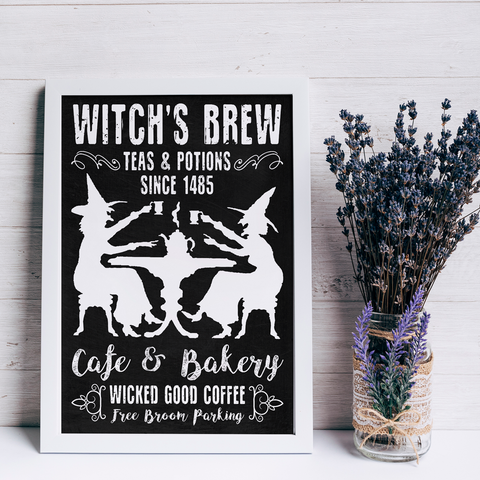 Witch's Brew Free Broom Parking Poster - Witch Apparel