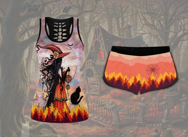 Red Witch Cat Tank Top Set