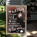 A Witch Live Here Flag Custom Flag 24x36