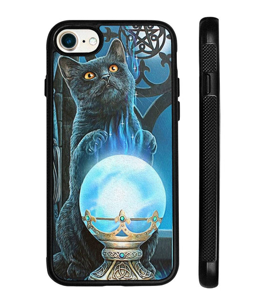 Black Cat And Crystal Ball Phone Case - Witch Apparel