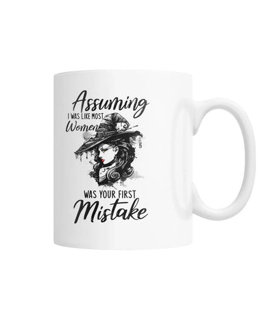 Assuming Like Most Women White Coffee Mug - Witch Apparel
