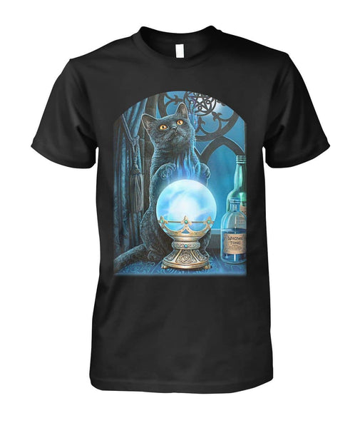 Black Cat And Crystal Ball Shirt - Witch Apparel