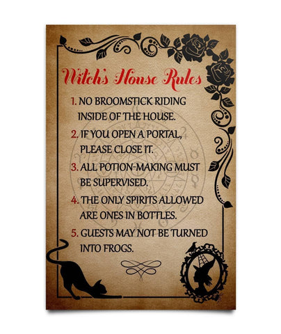 Witch's House Rules Poster - Witch Apparel