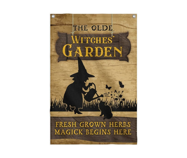 The Olde Witches Garden Flag Custom Flag 24x36 - Witch Apparel