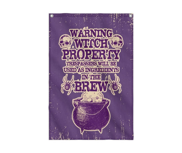 Warning Witch Property Flag Custom Flag 24x36