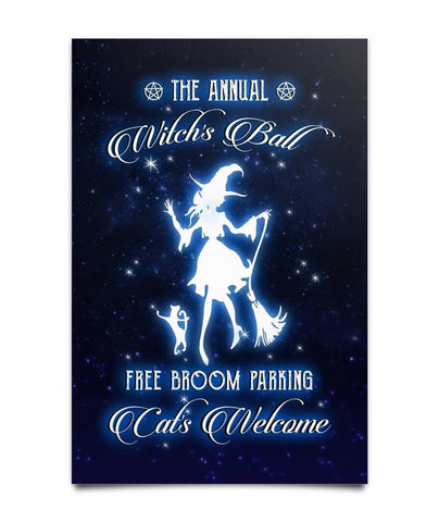The Annual Witch's Ball Free Broom Parking Poster - Witch Apparel