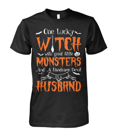 Lucky Witch With Little Monsters Shirt - Witch Apparel