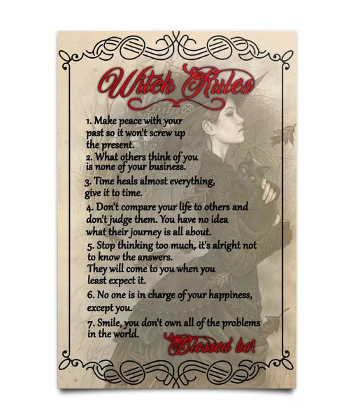 7 Rules Of Witch's Life Poster - Witch Apparel