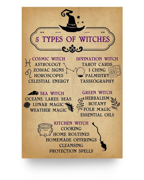 5 Types Of Witches Poster - Wicca Home Decor