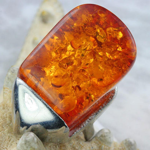 Dramatic 114ct Baltic Amber 18K White Gold Plate Ring