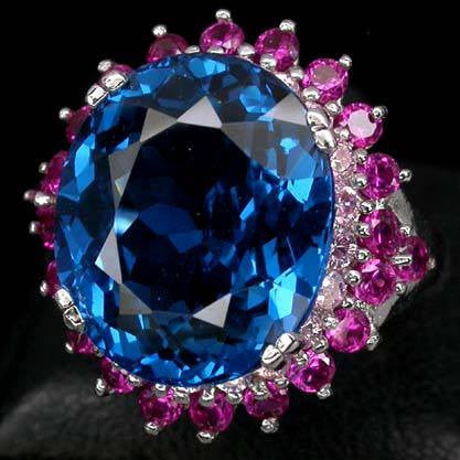 14ct Blue Topaz, Pink Ruby + Pink Sapphire Ring