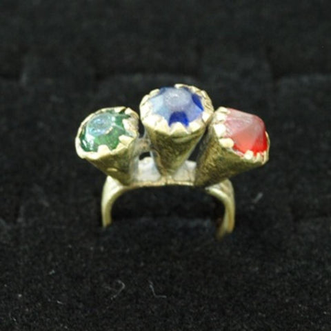 17th Century Brass Ring with Tri-Colored