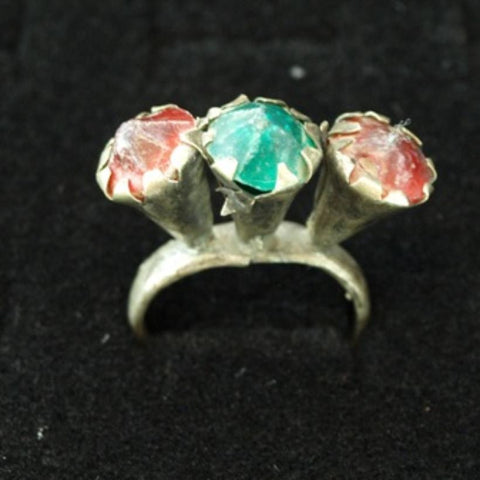 17th Century Brass Ring with Tri Colored