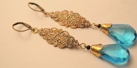1920s Bohemian Blue Ornate Earrings