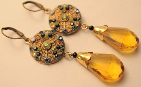 Jazz Age Yellow Glass + Rhinestone Earrings
