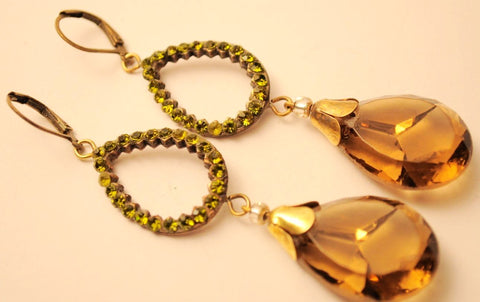 1920s Bohemian Honey + Green Earrings