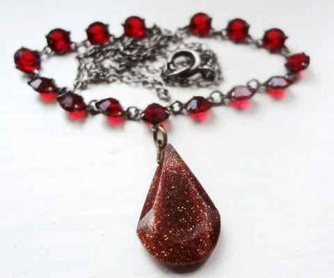 1930's Red Rhinestone + Goldstone Pendant Necklace