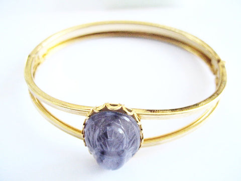 1940s Glass Scarab on Golden Cuff