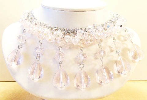1970s Light Pink Crystal Beaded Necklace