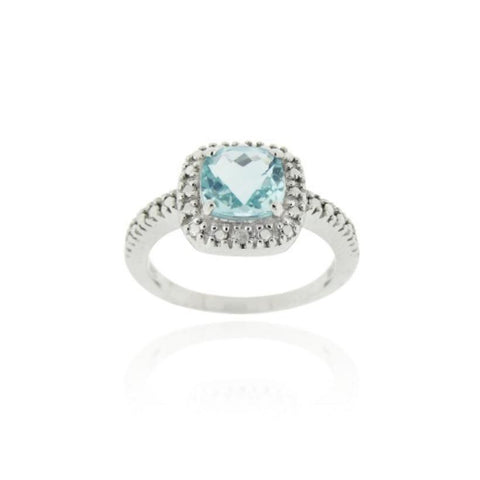 2.15 Carat Blue Topaz + Diamond Ring