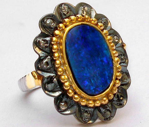 2.4ct Blue Opal and Diamond Ring - Size 7