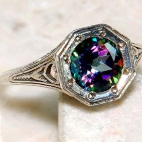 2ct Mystic Topaz Victorian Style Sterling Ring