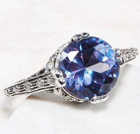 Copy of 2ct Deco Style Alexandrite Ring - Size 6
