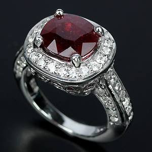 4.2ct Ruby + White Sapphire Ring